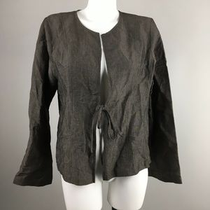 Eileen Fisher Brown Long Sleeve Tie Front Cardigan